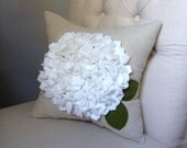 Hydrangea pillow in oatmeal linen and white bloom