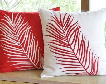 Red Palm Leaves Decorative Pillow Covers Set Of 2, Throw Pillow Cover, Embroidered Pillow Case, Home Decor, Linen Accent Pillow, Cushion