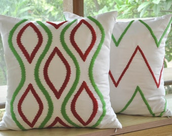 Ikat Chevron Pillow Cover Set of 2, White Linen Pillow Green Red Ikat Chevron Embroidery, Contemporary Geometric Throw Pillow, Cushion