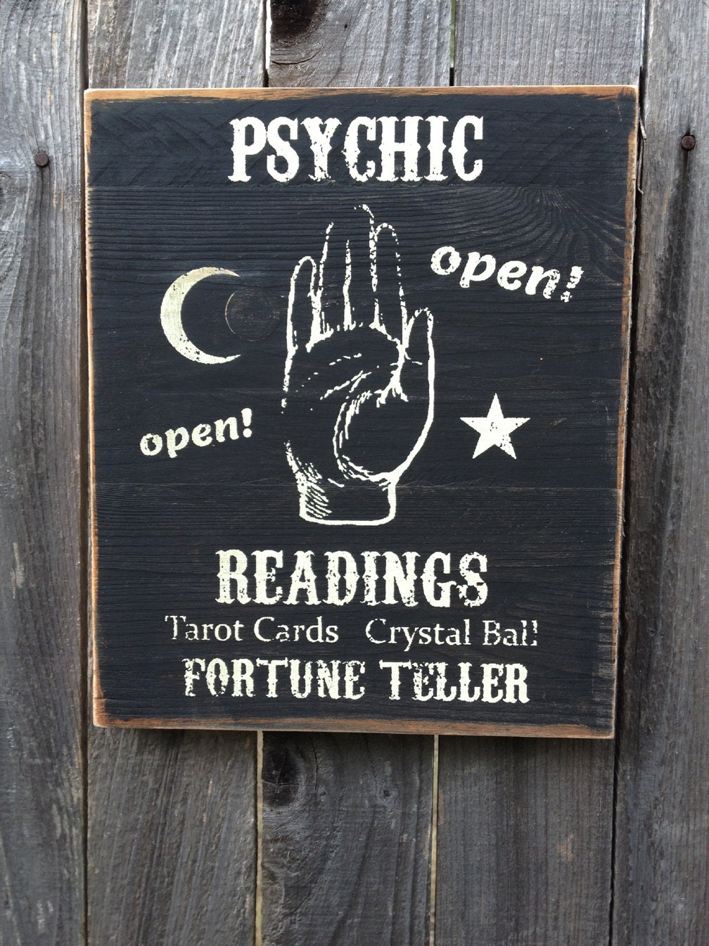 Psychic Readings Fortune Teller Wood Sign Primitive Rustic