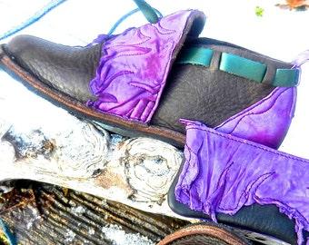 "Handmade leather shoes dark chocolate bullhide   - ""NO SHOES"" Lightweight Vibram Sole shrunken grain  purple goatskin Trim - size 6."