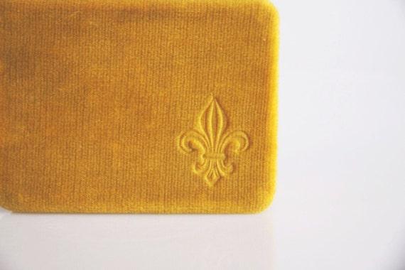 Yellow velvet fleur de lis box, art nouveau box,antique Belgian romantic home decor, vintage jewelry box, victorian home decor