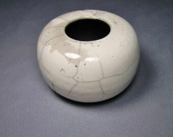 Ceramic Vessel, White Crackle Raku Bowl