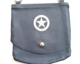 Leather Hip Bag with ranger star embroidery
