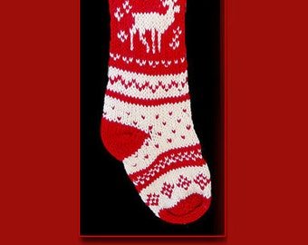 Hand knit Christmas stocking,  Personalized, made of pure wool yarn,  fully lined -- reindeer and snowflake, red and white