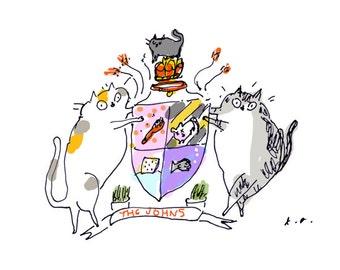 Custom Cat Heraldry - Pet Portrait - Cat Portrait - Cat Gift