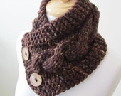 "Knit Neck Warmer, Cable Knit Scarf,  Chunky Warm Winter Scarf in Sequoia 6"" x 25"" - Coconut Shell Buttons Ready to Ship - Gift for Her"