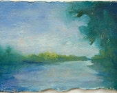 "Small Colorful Landscape Painting River Journey 4"" x 6"" oil on paper by Victoria Veedell"