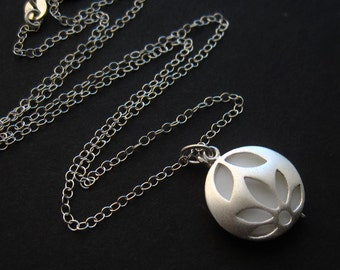 Renewal -- Sterling Silver Necklace with Movable Lotus Blossom and Mother-of-Pearl Shell Charm