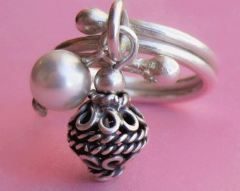 Hill Tribe Fine Silver Charm Ring with Bali Bead and Swarovski Pearl Accent