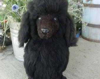 vintage brown wool plush fur poodle from the 50's