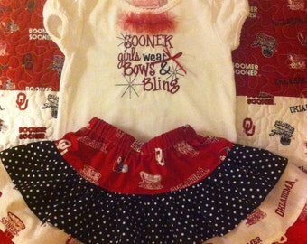 OU Sooners Embroidered Top and Ruffled Skirt