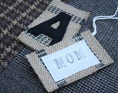 Luggage Tag 2 - Hand Stamped MONOGRAM / Initials for CHRISTMAS STOCKING, Personalization