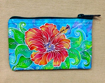 Coin Purse, Change Purse, Coin Bag, Tropical Hibiscus artwork