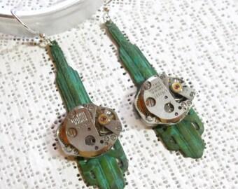 STEAMPUNK EARRINGS, Art Deco Style, Verdigirs Patina, Swiss Jewel, Matching Watch Works, Recycled, Repurposed Watch