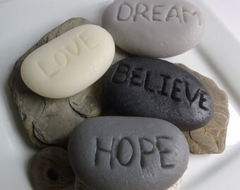Inspirational Rock Soap Gift Set - Believe, Love, Hope, Dream - Scent Lavender - Gift for Her - Valentines day gift - Shaped Soap
