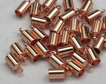 Copper Barrel End Caps, 6+ 4mm For Kumihimo & Leather Strands, Glue In Cord Ends, Bright Plated Brass Cord Tips