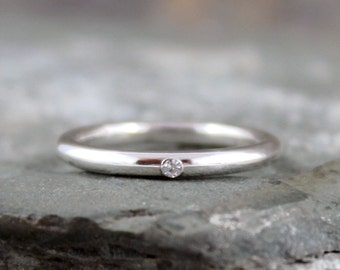 Sterling Silver Diamond Band - Men's or Ladies Ring - Wedding Bands - Engagement Rings - Stacking Ring