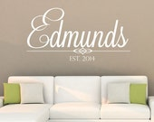Last Name and Initial Wall Decal Wedding DB191