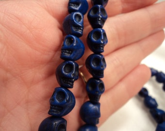 Dark Blue Skull Beads - Sold by the strand - Each strand has 40 beads - #TURQ272