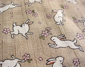 Japanese Cotton Fabric - Rabbits on Dusty Tan - Cosmo Fabric from Japan LAST THREE YARDS