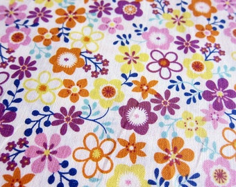 FREE SHIPPING Japanese Cotton Fabric - Whimsical Floral in Purple and Orange (F042) - Fat Quarter