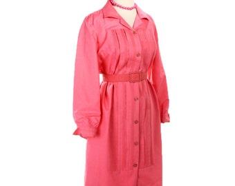 1960s Oleg Cassini Silk Shirt Dress - Bubblegun Pink Shirtfront w/ Matching Belt - size Medium