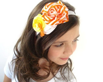 Ready to Ship SALE! Candy Corn Halloween Soft Elastic Headband, Custom Size