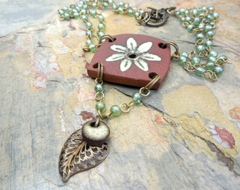 Ceramic and Brass Floral Beaded Necklace, Green, Copper, Natural, Rustic Fashion
