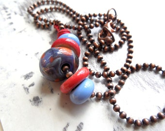 SALE Red & Blue Beaded Lampwork Glass and Ceramic Necklace, Light Blue, Antiqued Copper, Spring Summer Fashion, Beach Jewelry