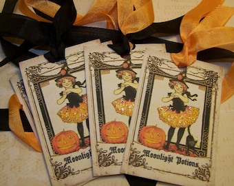 Halloween Cute Witch Tags Vintage Style - Set of 6 or 9
