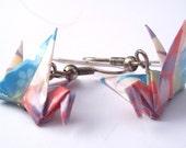 Origami Earrings - Summer Evening, Floral Origami Crane Earrings