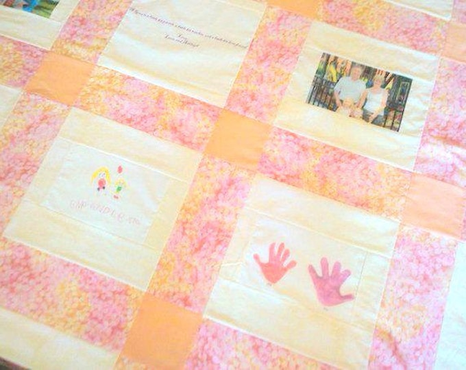 9 Photo Memory Quilt - Crib Size - Picture Quilt - Custom Made with Photos on Fabric