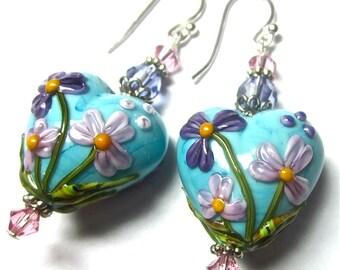 Turquoise Heart Earrings Turquoise Lampwork Earrings Handmade Earrings Purple Pink Turquoise Earrings Glass Earrings Artisan Earrings