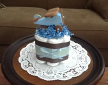 Airplane Diaper Cake Baby shower centerpiece mini cake or gift other sizes and colors too Zoom Zroom