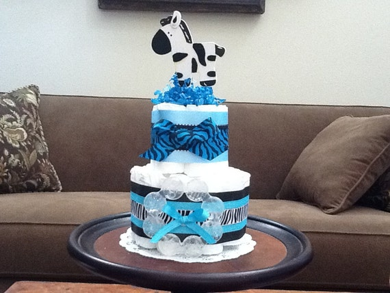 Items similar to Zebra Boy Diaper Cake Baby Shower ...