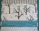 Baby Lovey Quilt or Changing Pad Quilted Grey Teal Birds Lotta Jansdotter Fabrics