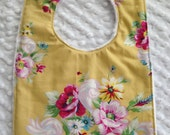 Sweet  Roses  Bib with White Minky  Pink Roses Girl Yellow
