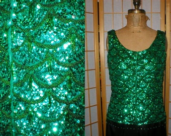 Vintage  60s green mermaid sequin shimmy top by Ohrbachs womens size 36 / medium