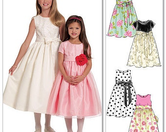 GIRL DRESS PATTERN / Fancy Dresses for Little Girls In sizes 3 to 6 or 7 to 14 / Flower Girl - First Communion