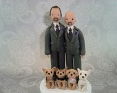 Wedding Cake Topper - Custom Handmade Same Sex Couple with Dogs