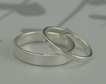 The Straight and Narrow Thin Bands--Solid Sterling Silver Flat Edge Wedding Ring Set--Modern His and Hers Bands