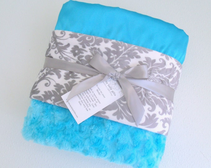 Turquoise Aqua and Gray Damask Minky Baby Blanket - personalized