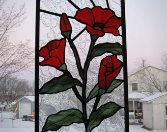 Stained Glass Poppy Etsy