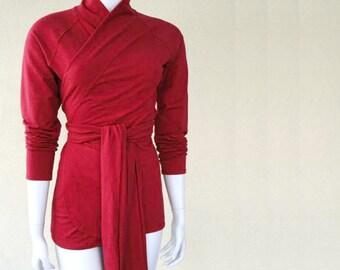 Organic shawl wrap shirt, custom women's clothing, red wrap top, handmade tunic shirt