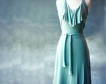 Long halter dress, handmade organic dress, backless dress, organic clothing from Canada