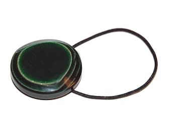 Forest Green Hair Accessory - 40's Era Vintage Italian Button, Dark Green and Black Composite Plastic, Elastic Band Ponytail Holder
