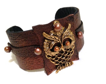 Owl leather bracelet with pearls Leather Jewelry Cuffs  Wrist Bands for Women