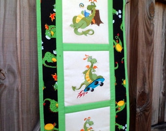 Dragon fun - Quilted Wall Hanging / Skateboard / Sand Castle / Reading a book / gift for him / room decor / boy / kid / black and green