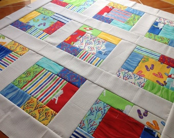 Quilt Top - Unfinished baby sized quilt - Oceanview by Paul Brent for Moda - bright and fun  38 in x 38 in